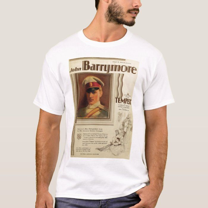 John Barrymore 1928 movie poster T-shirt, Men's, Size: Adult L, White