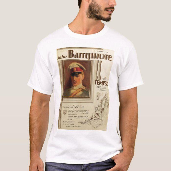 John Barrymore 1928 movie poster T-shirt, Men's, Size: Adult L, White