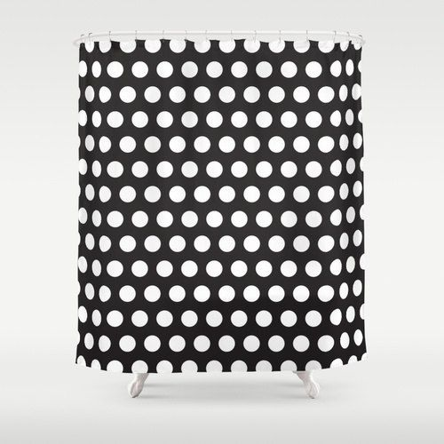 Pink And White Polka Dot Shower Curtain Retro By ThingsThatSing