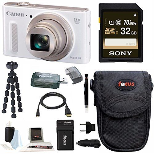 Canon Powershot SX610 HS Digital Camera (White) with 32GB Deluxe Accessory Bundle