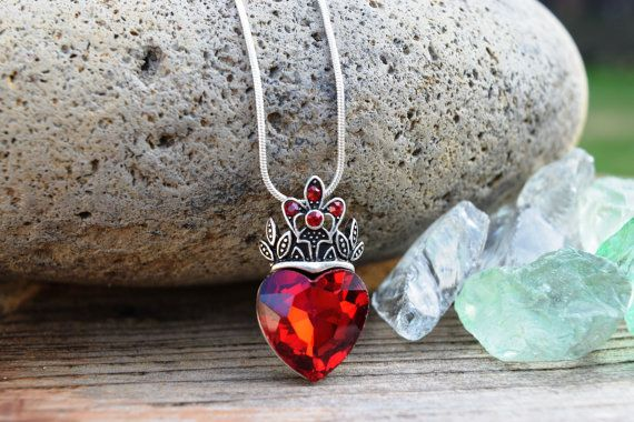 Evie Necklace Descendants Necklace Red Heart by FishesGiveKisses