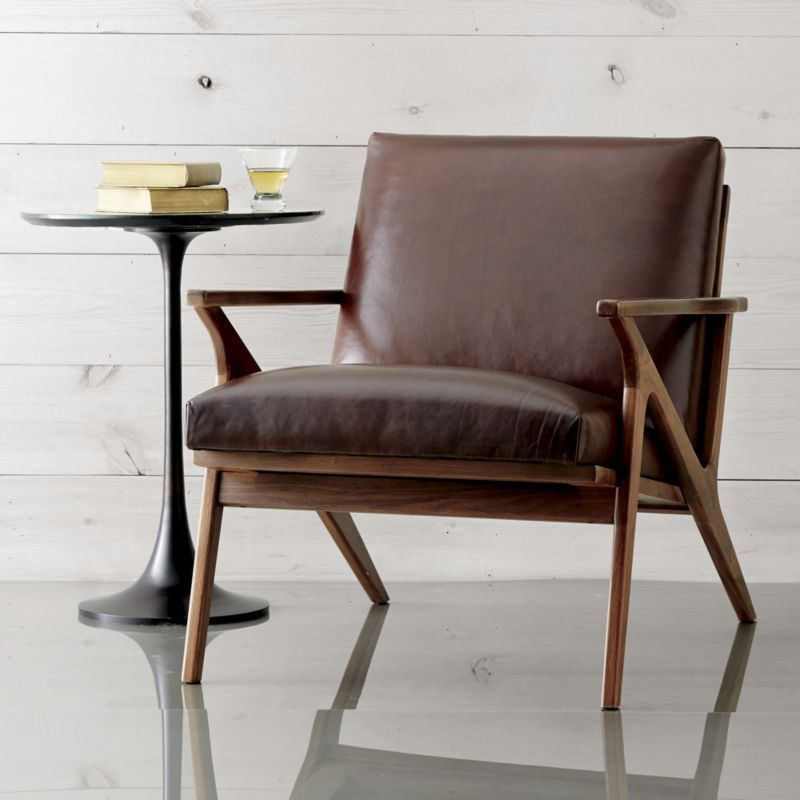 Cavett Leather Wood Frame Chair  Living Room in 2019