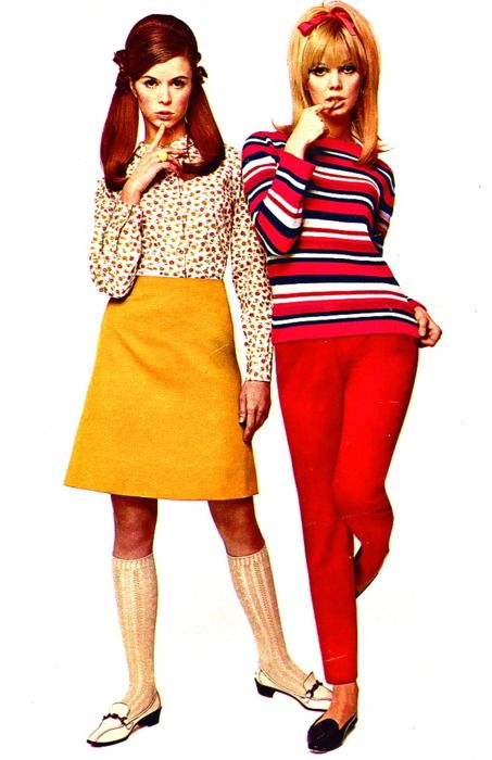 60s Fashions - yep, this is high school...though we weren't allowed to wear even slacks, let alone jeans, until '69.