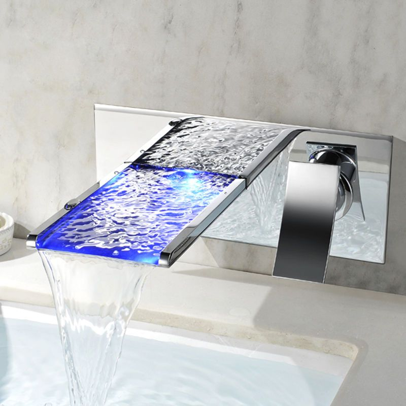 Modern Led Wall Mounted Waterfall Bathroom Faucet Tap In Chrome 3
