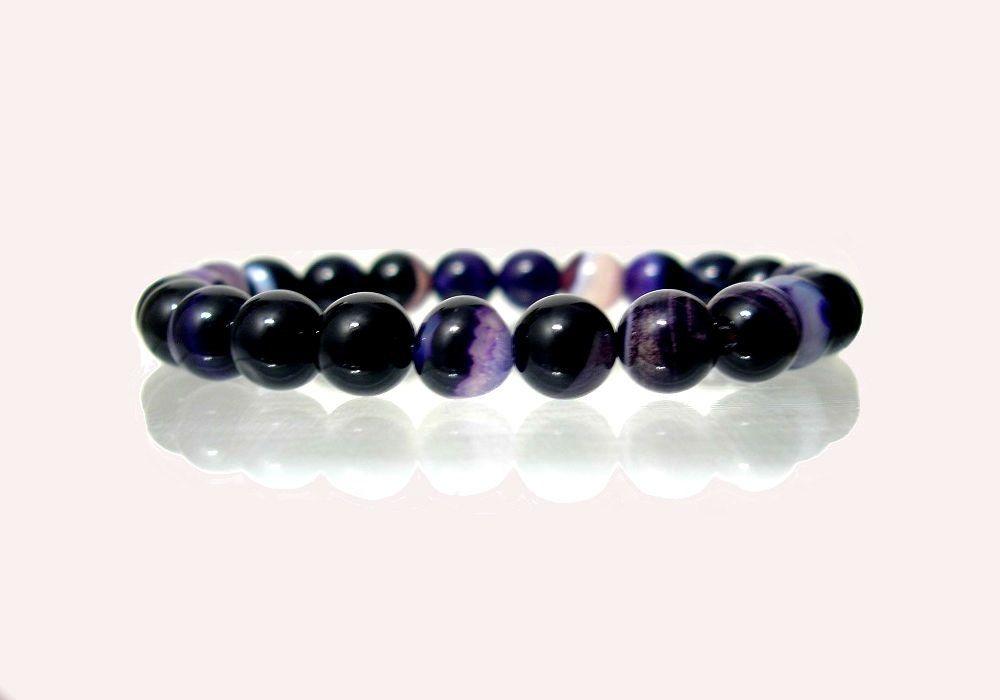 Agate Geode Purple Multicolor Round, Stretch Men Bracelet- Meditation Bracelet - Handmade - Natural Stones - Jewellery de ArtGemStones en Etsy