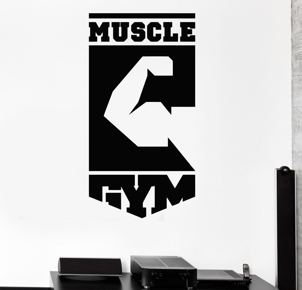 Vinyl wall decal muscle gym logo fitness club sports for Logos de garajes