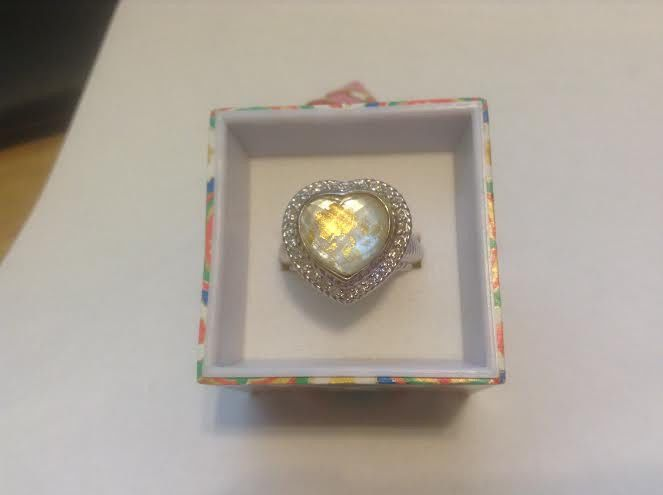Judith Ripka Sterling Gemstone Doublet Heart Ring Retired Size 7
