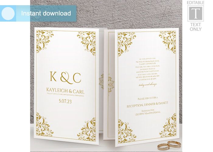Wedding Program Template (Foldover Booklet-Style) DOWNLOAD - booklet template microsoft word