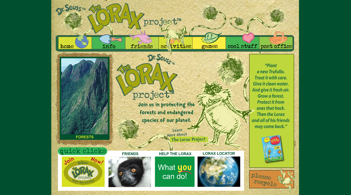 The LORAX PROJECT website for children to grownups to