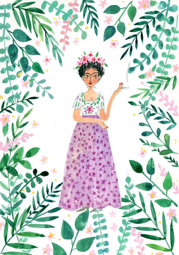 Frida Kahlo is a high quality digital print, printed from original gouache illustration to matt archival paper (200gsm) and inspired by Fridas work and life. Choose from standard A4 (21cm by 29.7cm) size and A3 (29.7cm by 42cm), it is easy to find a suitable frame, however it will look great unframed too (attached to a wall with some cute tape?). Made with love and will be shipped with care.