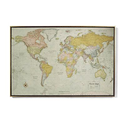 Heirloom antiqued linen map silver frontgate products world magnetic travel map with antique white frame gumiabroncs Images