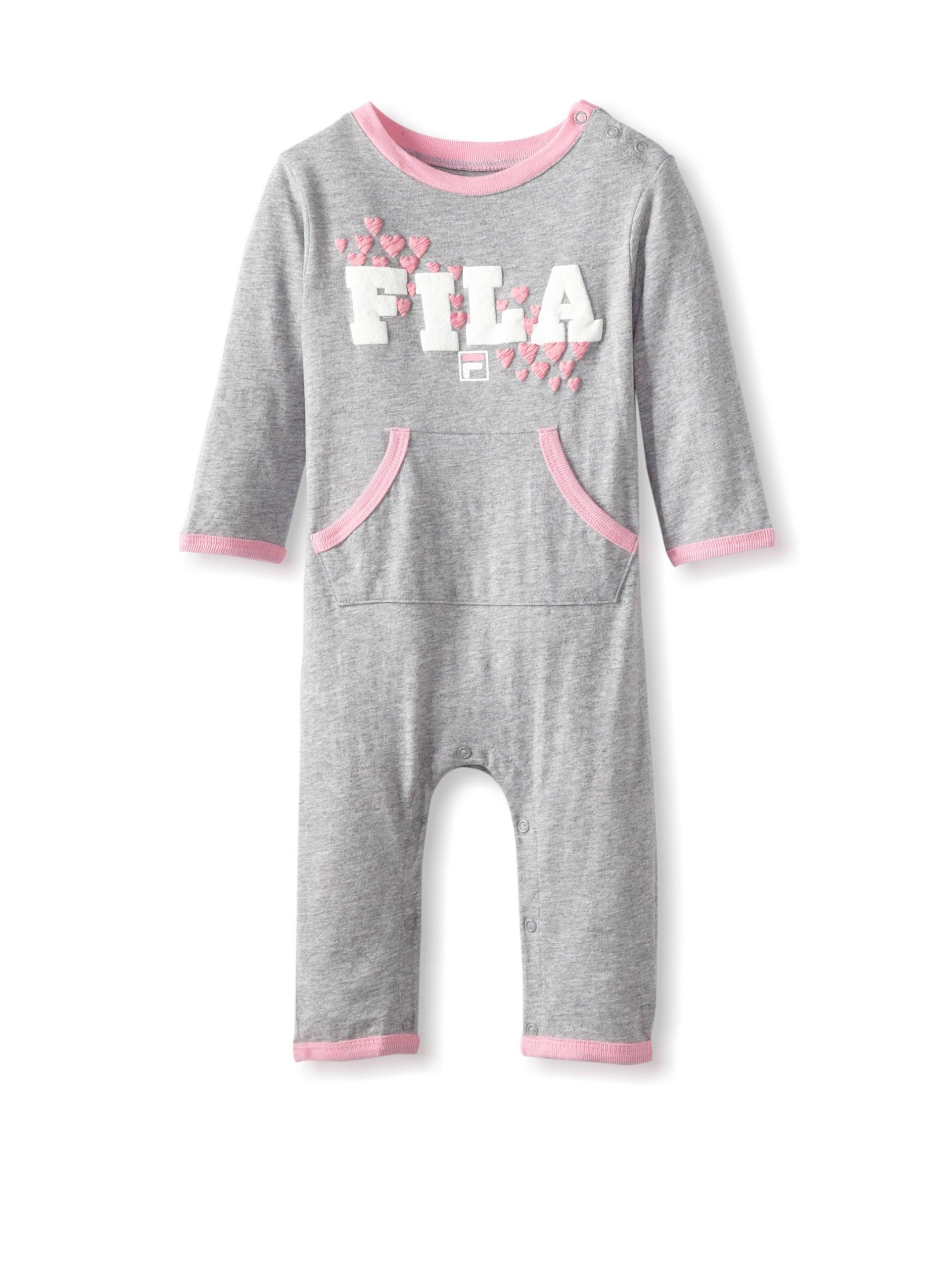 40d8ef6e945 Fila Baby Coverall (Heather Grey) Soft and lightweight knit romper with  ribbed knit trim