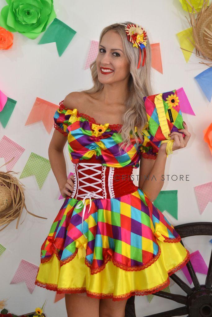 Vestido Funny - Caipira Chic na internet Penteados Festa Junina b65a6c05551