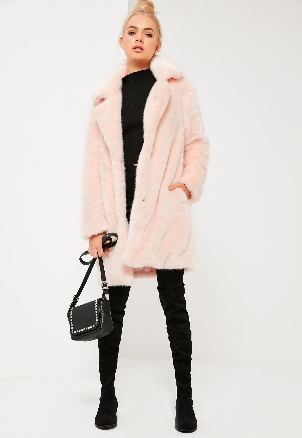 Missguided - Pink Oversized Collar Faux Fur Coat | fashion 101 ...