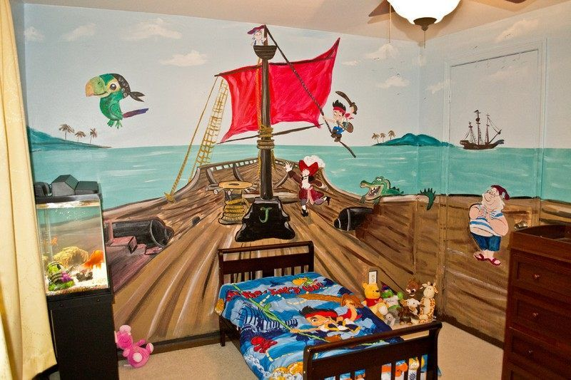 piratenschiff an der wand im kinderzimmer malen selber bauen kinderzimmer wandgestaltung. Black Bedroom Furniture Sets. Home Design Ideas