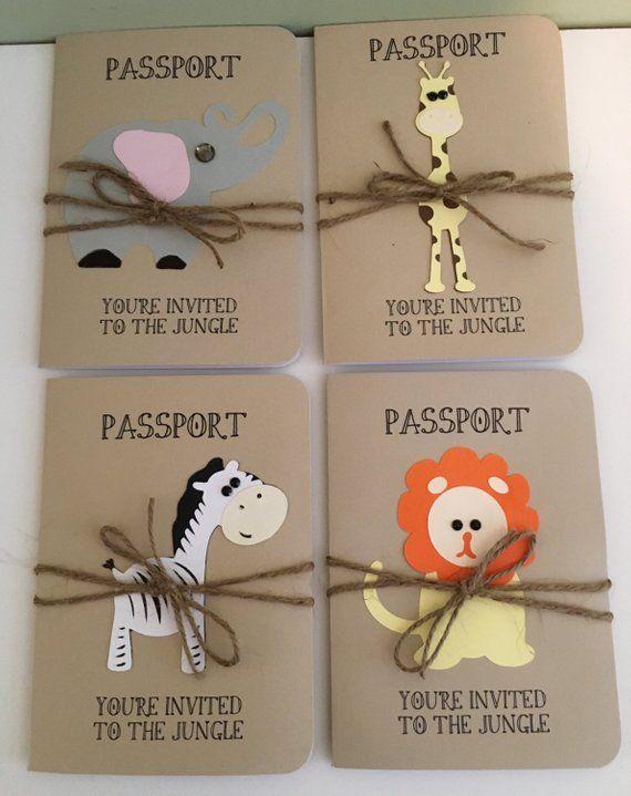 Invitación de cumpleaños de selva, Safari, elefante, jirafa, cebra, mono y león pasaporte o anuncio de ducha