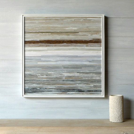 Modern Rustic Wood Wall Art 24 x 24 Distressed Wood by paintsquare