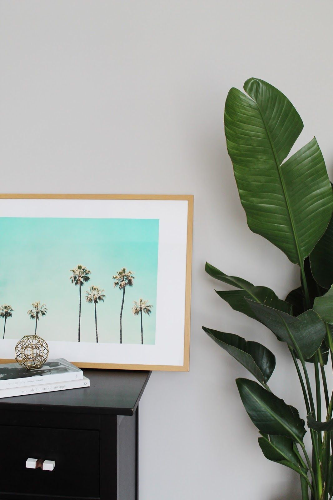 Palm tree print framed how to do banana leaf plant for Palm tree decorations for the home