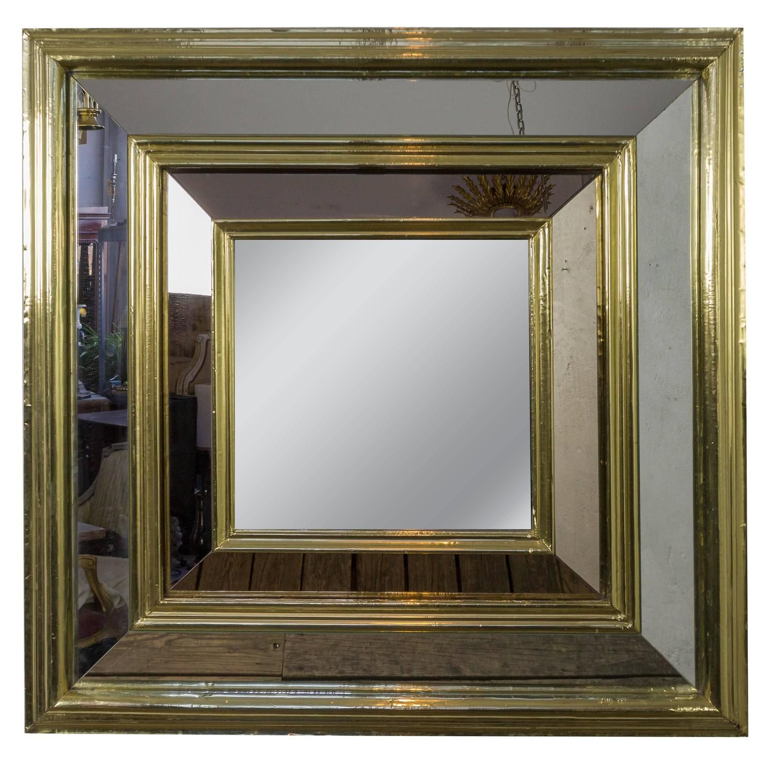 Large French, 1980S Square Brass Framed Mirror