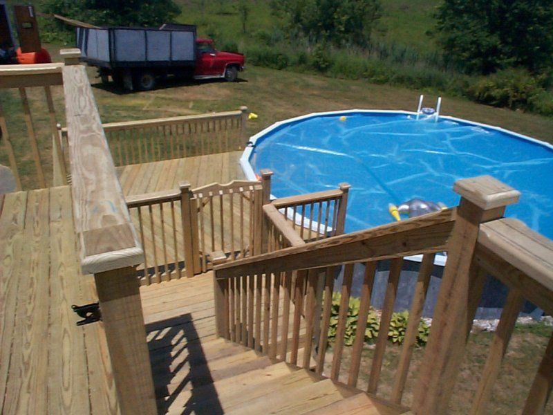 Find above ground pool deck pictures for multi level deck for Multi level deck above ground pool