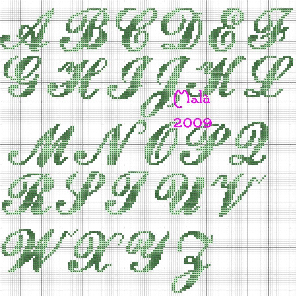 Font arenski maiuscolo alfabeti creati da me cross for Ricamo punto croce alfabeto