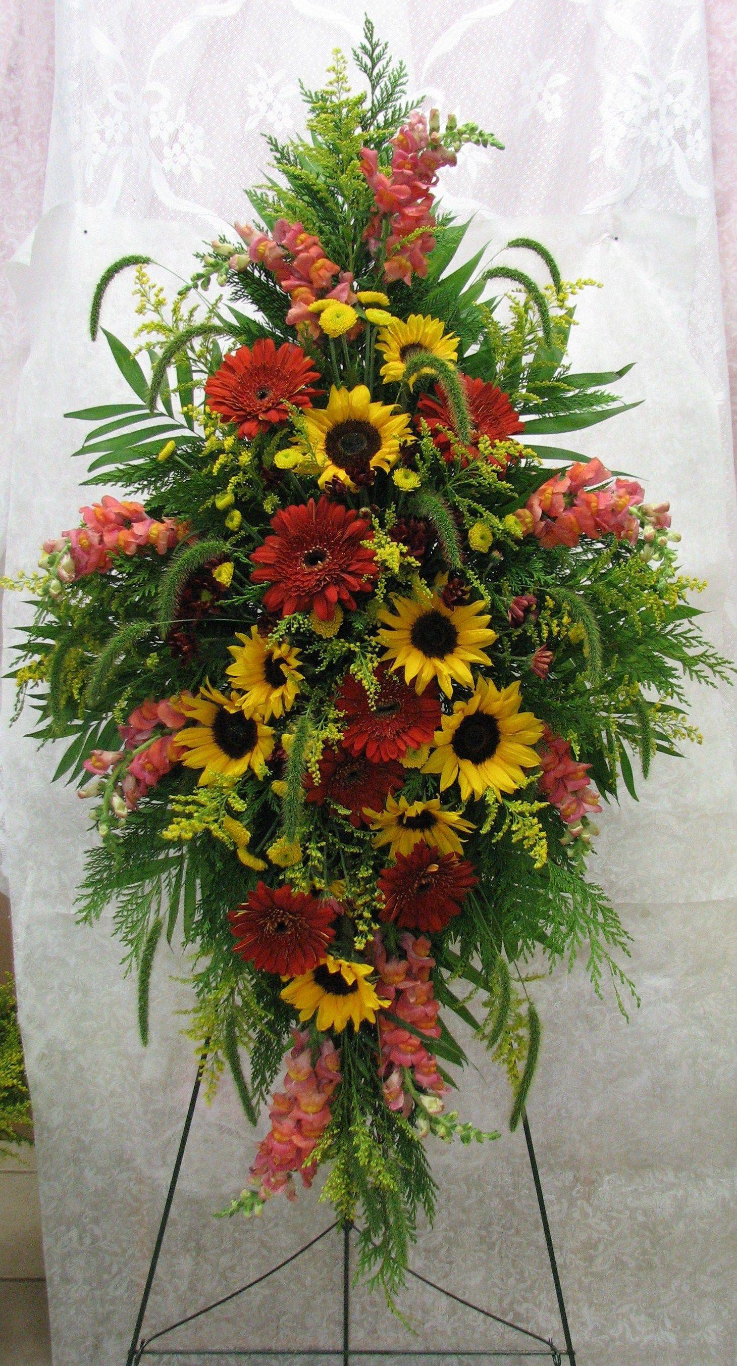 Fall standing spray sympathy flowers pinterest funeral flowers fall standing spray casket flowers funeral flowers funeral floral arrangements large flower arrangements izmirmasajfo