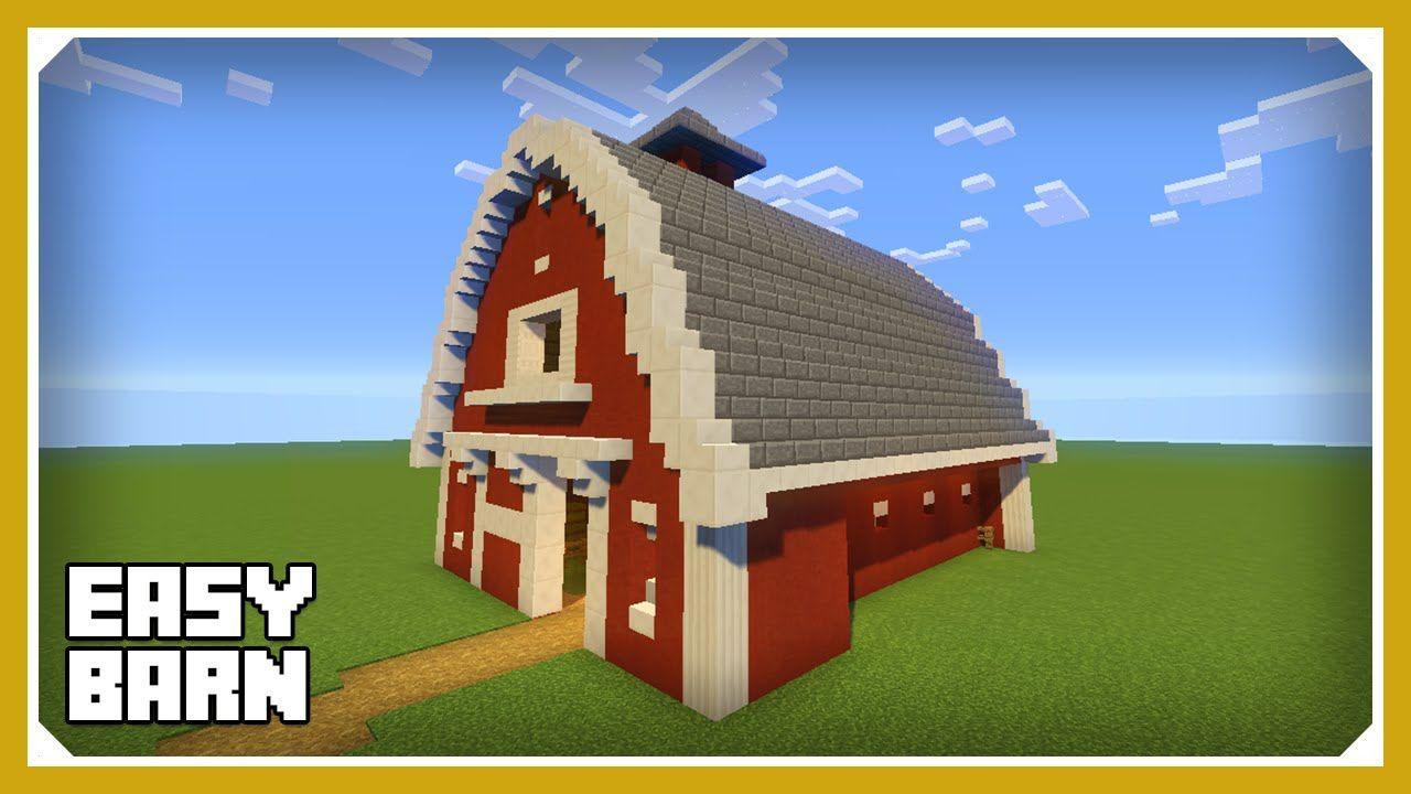 Minecraft how to build a barn house tutorial easy