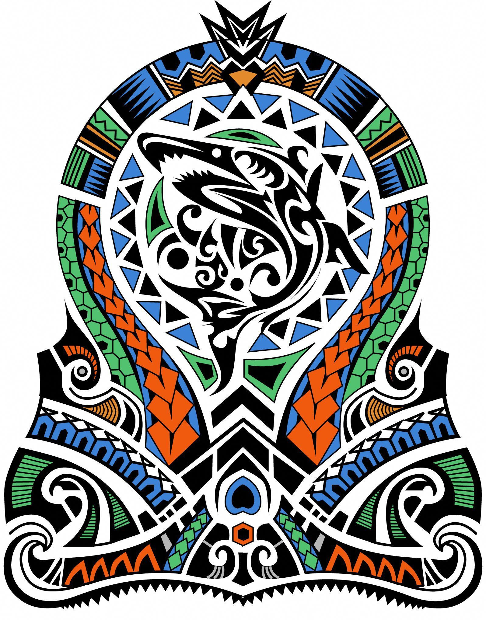 c5ed3be287851 Polynesian Shark Tribal Maori Half Sleeve Color. Designer: Andrija Protic  #Polynesiantattoos