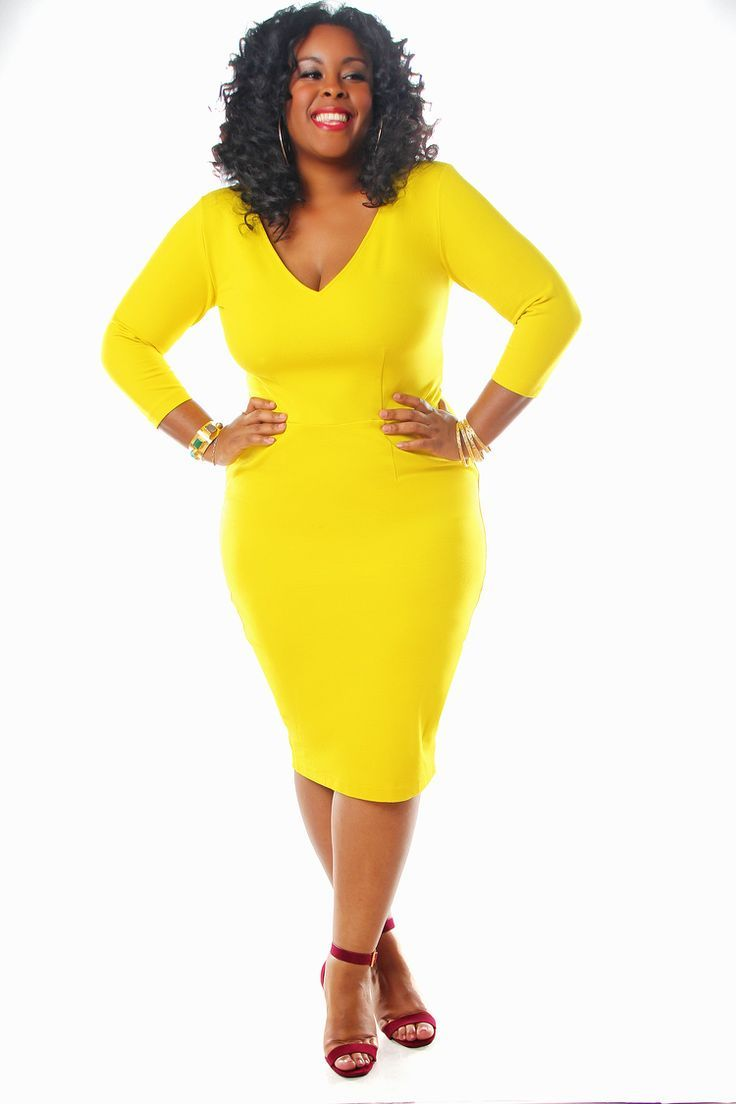 Yellow dress for women   spring outfits with a plus size pencil dress  Page  of