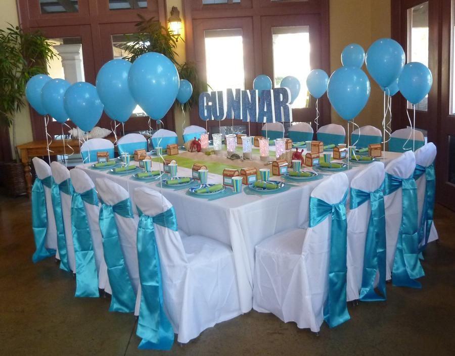 Undersea party table set up kernels for baby showers Baby shower table setting