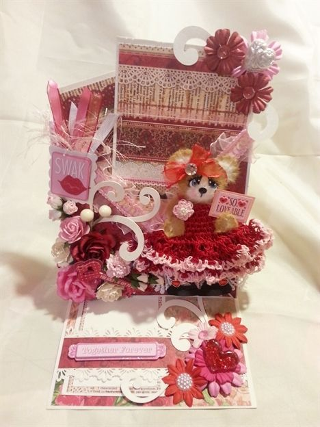 TWAG Rosa Valentines Love Tear Bear easel card scrapbooking
