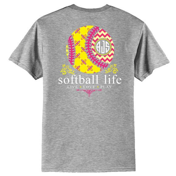 OFFICIAL TM SOFTBALL Life™ Custom Monogram Raglan Softball Shirt Softball T zB98lxON
