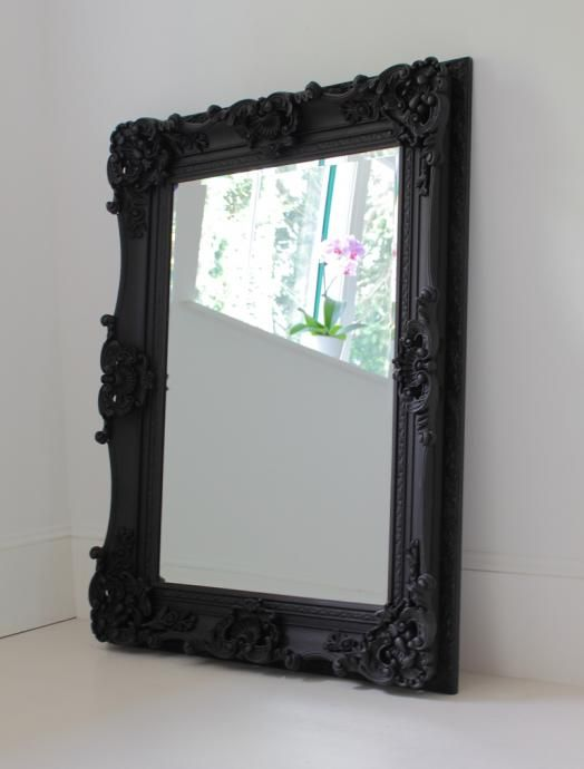 Ornate Mirror In Black Medium Black Bedroom Furniture