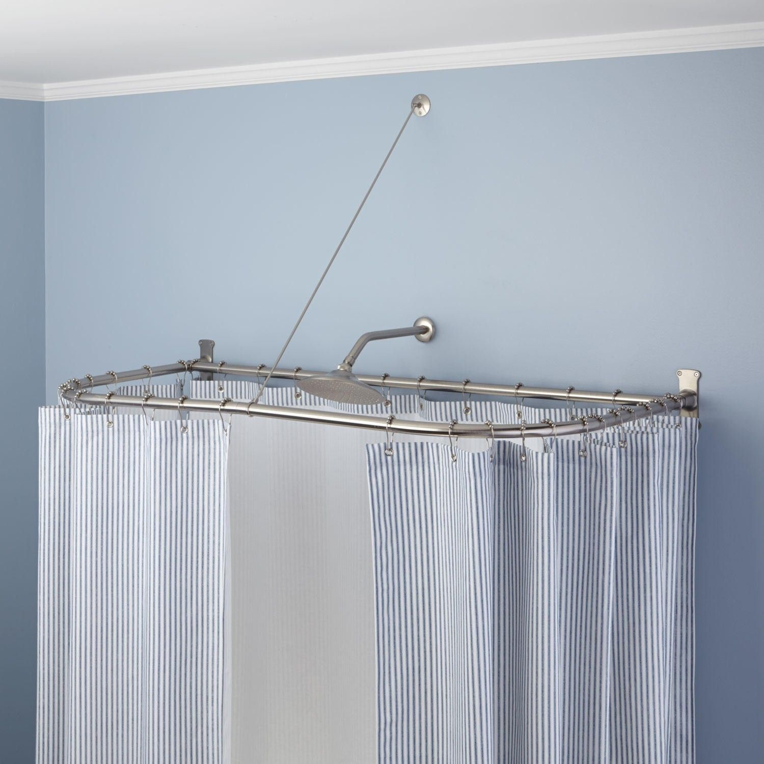 D Shaped Solid Brass Shower Curtain Rod Shower Curtain Rods