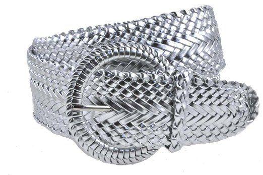 db4c98900 Ladies Fashion Web Braid Faux Leather Woven Metallic Wide Belt 22 Colors (M  (38