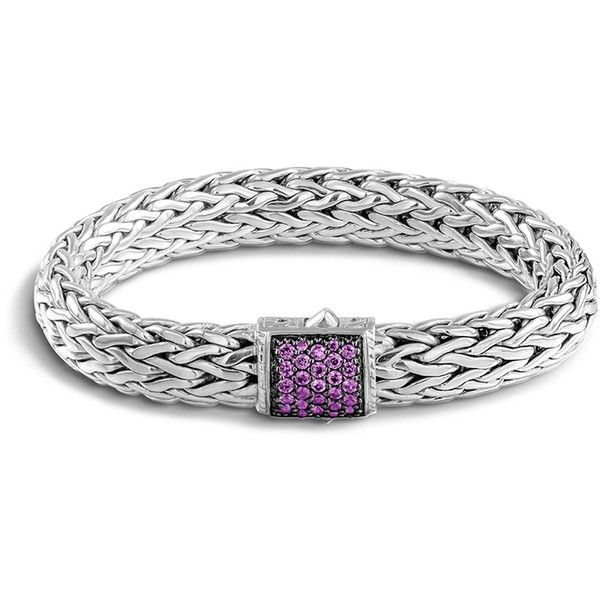 John Hardy Classic Chain Sterling Silver Lava Large Bracelet with... (£702) ❤ liked on Polyvore featuring jewelry, bracelets, john hardy bangle, sterling silver jewelry, sterling silver amethyst bracelet, chain bracelet and sterling silver bangles