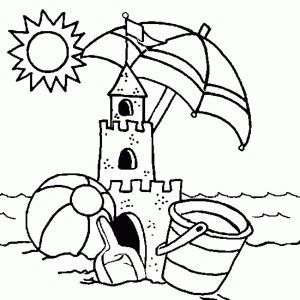 Abandoned Sand Castle Coloring Page Summer Coloring Sheets Beach Coloring Pages Preschool Coloring Pages