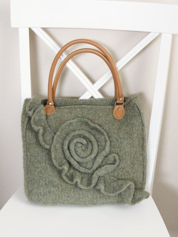 Knit and Felted Purse Pattern, Knit Bag Pattern - Knit Tote Pattern ...