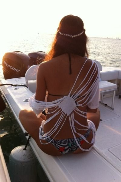 Cute idea for a DIY swimsuit cover up made out of an old t-shirt!