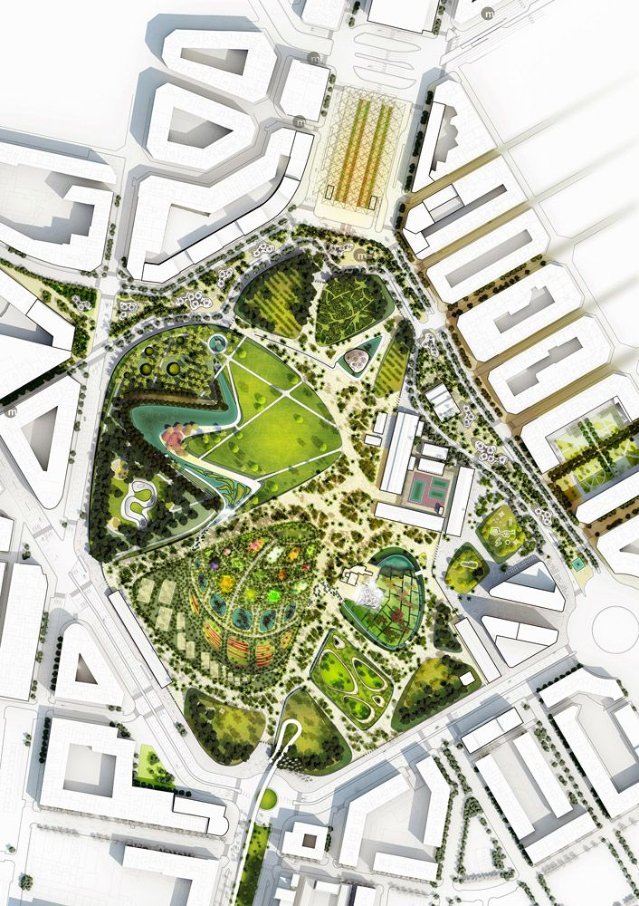 Valencia parque central proposal by west 8 valencia for Site plan design