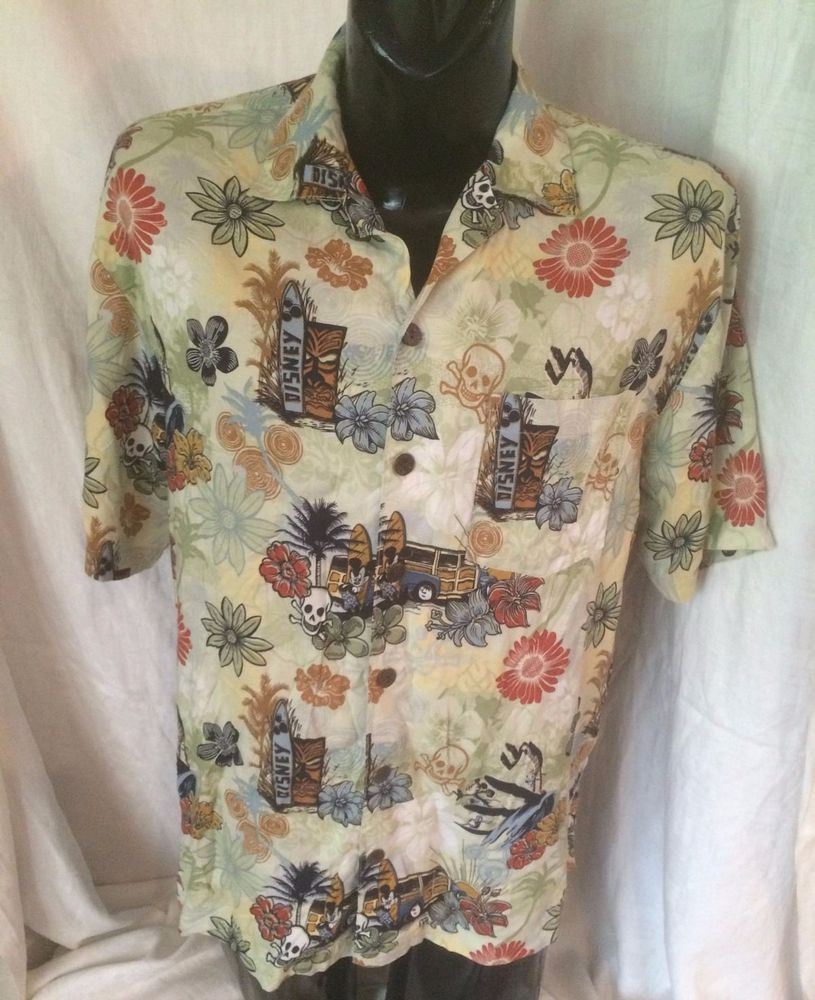 d5c99148 Walt Disney World Aloha Mickey Tiki Surfing Woody Skulls Mens Hawaiian  Shirt M #WaltDisneyWorld #Hawaiian