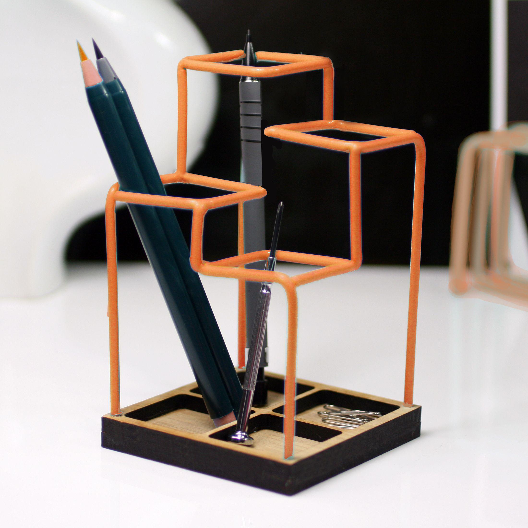 Unusual Desks orange desk tidy - unusual pen holder - block | curated colour