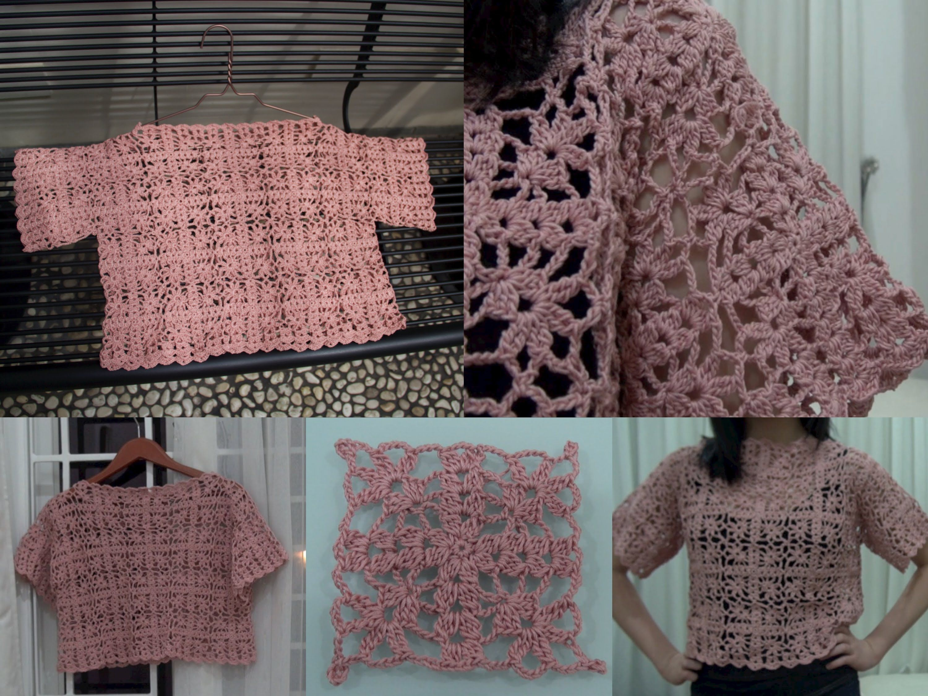How To Crochet Granny Square Crop Top part 1 of 4 (Granny Square ...