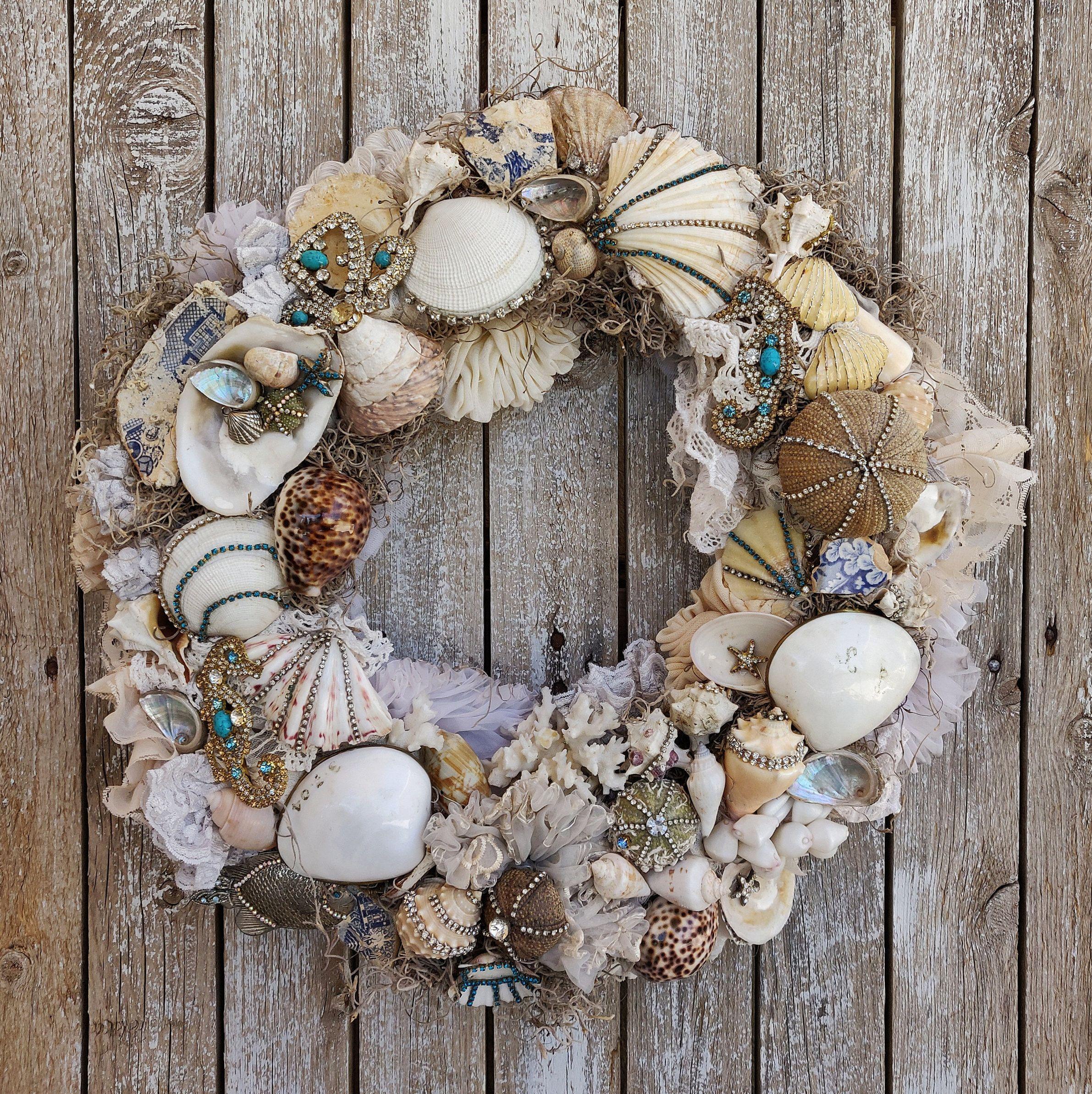 Gift for Her Beach Wreath for Front Door Beach Decor Summer Wreath Beachy Wreath Beach Door Hanger Ocean Decor Seashore Wreath Beach
