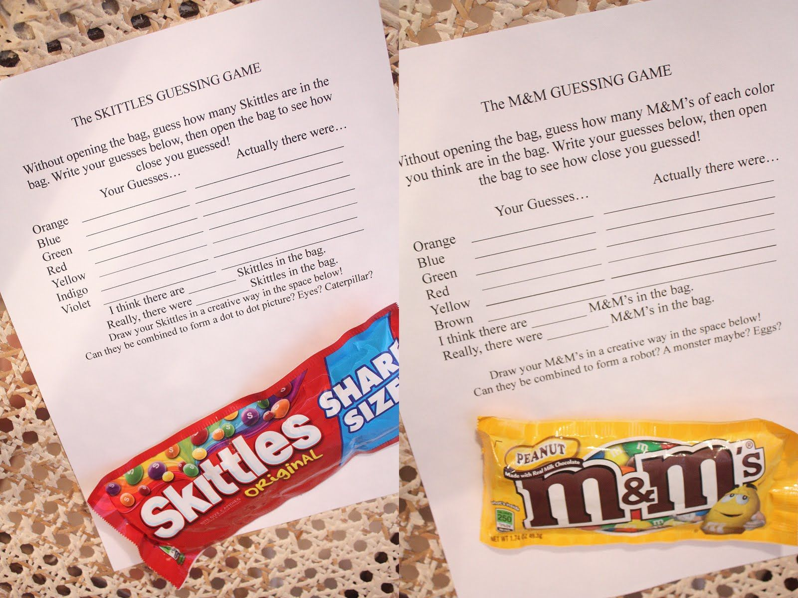 Candy Guessing Worksheet