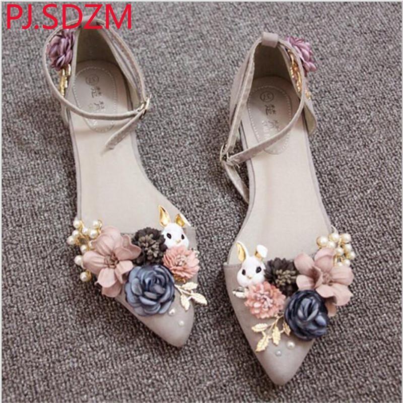 Rabbit Flowers Pearl Flat Sandals Shoes