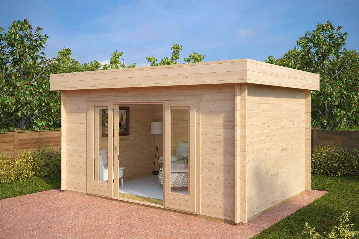 Gartenhaus mit Schiebetür Jacob E 12m² / 44mm / 3x4 in