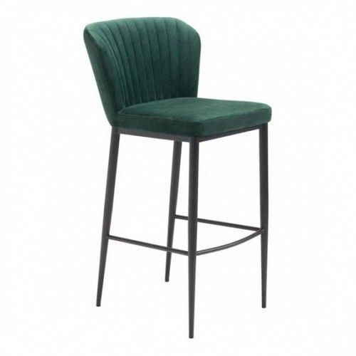 Incredible Forest Green Velvet Channel Tufted Barstool Set Of 2 Theyellowbook Wood Chair Design Ideas Theyellowbookinfo