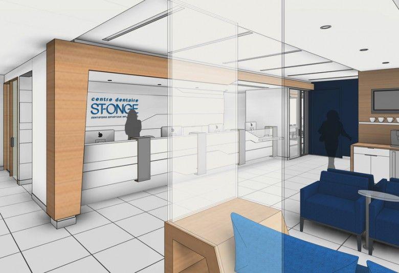 Interior design dental Clinic // white // blue // angles// 3D REVIT ...