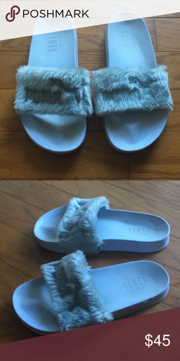 online store 4ddfe 11fc2 Puma Shoes | Puma Fenty Fur Slides | Color: Blue/Red | Size ...